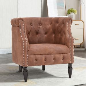 Leather Brown Chesterfield Tub Chair - Leather Air Suede