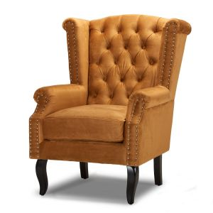 Velvet Wing Back Fireside Chair / Armchair with Buttons Antique Gold