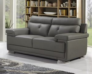 Genuine Leather Mid Grey 2 Seater Cassino Sofa Set