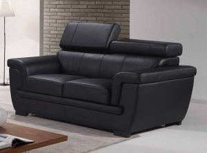 Genuine Leather Black 2 Seater Saluzzo Sofa
