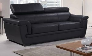 Genuine Leather Black 3 Seater Saluzzo Sofa