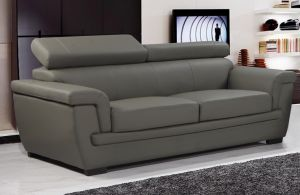 Genuine Leather Mid Grey 3 Seater Saluzzo Sofa