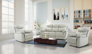 Seater Semi Aniline Light Grey 3 + 1 + 1 Virage Leather Recliner Sofa Set