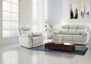 Seater Semi Aniline Light Grey 3 + 1 Virage Leather Recliner Sofa Set