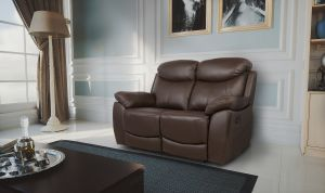 Semi Aniline Leather Chocolate Brown 2 Seater Virage Recliner Sofa