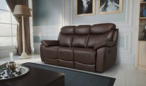 Semi Aniline Leather Chocolate Brown 3 Seater Virage Recliner Sofa