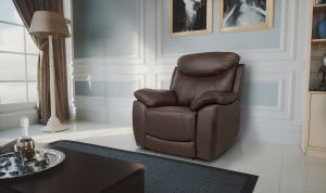 Semi Aniline Leather Chocolate Brown 1 Seater Virage Recliner Sofa