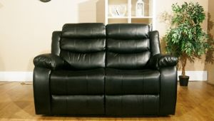 Leather Air Black 2 Seater Vista Manual Recliner