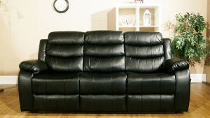 Leather Air Black 3 Seater Vista Manual Recliner