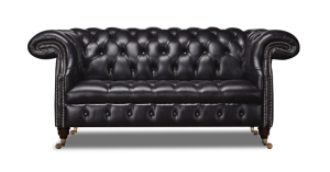 Leather Chesterfield Black 2 Seater Waldorf Sofa