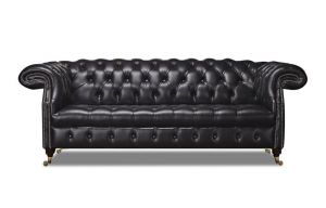 Leather Chesterfield Black 3 Seater Waldorf Sofa