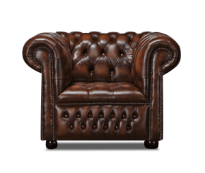 Leather Chesterfield Brown 1 Seater Watson Sofa