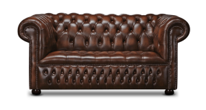 Leather Chesterfield Brown 2 Seater Watson Sofa