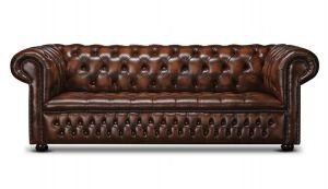 Leather Chesterfield Brown 3 Seater Watson Sofa