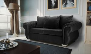 Velvet Black 3 Seater Westwood Sofa