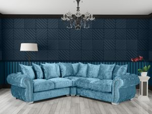 Crushed Velvet Aqua Blue 2c2 Corner Westwood Diamante Sofa
