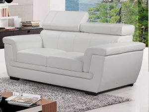 Genuine Leather White 2 Seater Saluzzo Sofa