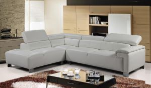 Genuine Leather White Left Hand Facing Livorno Corner Sofa