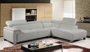 Genuine Leather White Right Hand Facing Livorno Corner Sofa