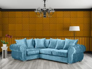 Crushed Velvet Aqua Blue 1C2 Westwood Diamante Corner Sofa