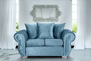 Crushed Velvet Aqua Blue 2 Seater Westwood Diamante Sofa