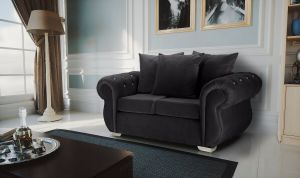 Velvet Dark Grey 2 Seater Westwood Diamante Sofa