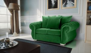 Velvet Emerald Green 2 Seater Westwood Diamante Sofa