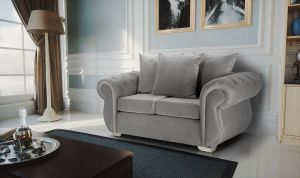 Velvet Light Grey 2 Seater Westwood Diamante Sofa