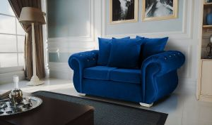 Velvet Marine Blue 2 Seater Westwood Diamante Sofa