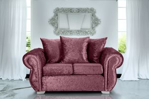 Crushed Velvet Mulberry 2 Seater Westwood Diamante Sofa