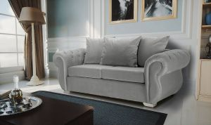 Velvet Light Grey 3 Seater Westwood Diamante Sofa