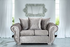 Crushed Velvet Silver 2 Seater Westwood  Diamante Sofa