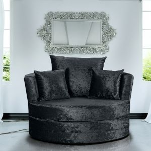 Crushed Velvet Black Chelsea Cuddle Chair