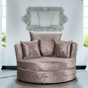 Crushed Velvet Mink Chelsea Cuddle Chair