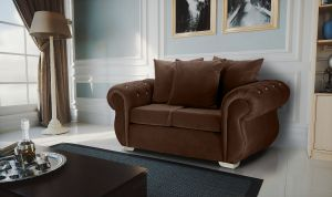 Velvet Brown 2 Seater Westwood Diamante Sofa