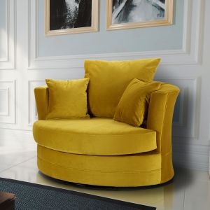 Velvet Mustard Gold Chelsea Cuddle Chair