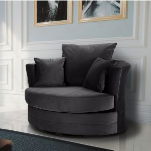 Velvet Dark Grey Chelsea Cuddle Chair
