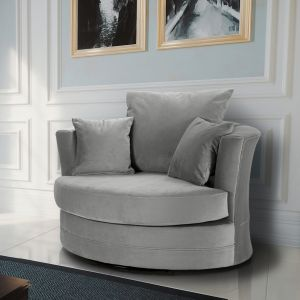 Velvet Light Grey Chelsea Cuddle Chair