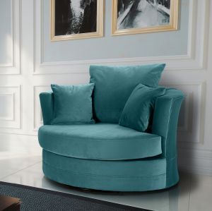 Velvet Turquoise / Teal Chelsea Cuddle Chair