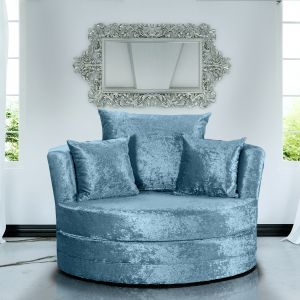 Crushed Velvet Aqua Blue Chelsea Cuddle Chair