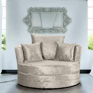Crushed Velvet Cream Chelsea Cuddle Chair