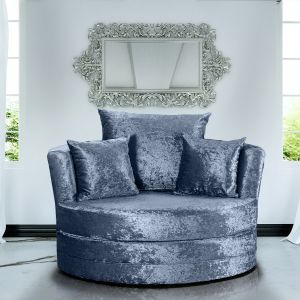 Crushed Velvet Denim Blue Chelsea Cuddle Chair
