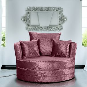 Crushed Velvet Mulberry Chelsea Cuddle Chair