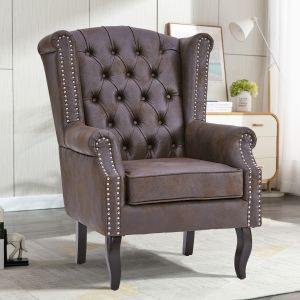 Leather Chocolate Brown Wingback Chair with Buttons - Leather Air Suede