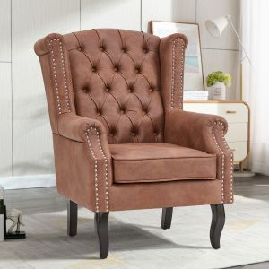 Leather Brown Wingback Chair with Buttons - Leather Air Suede