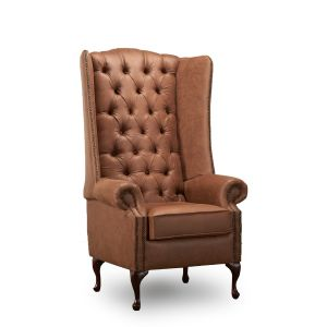 Leather Air Brown Extra Tall Wingback Chair