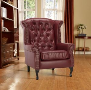 Leather Wing Back Fireside Chair / Armchair with Buttons Burgundy