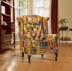 Fabric Gold Patchwork Chesterfield Avici Scroll Wingback Chair