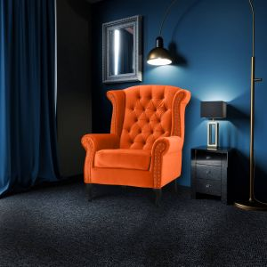 Velvet Wing Back Fireside Chair / Armchair with Buttons Pumpkin Orange