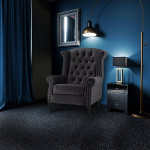 Velvet Wing Back Fireside Chair / Armchair with Buttons Dark Grey